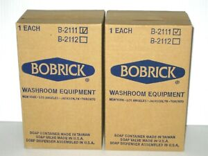 2 Bobrick Stainless Steel Vertical Wall Mount Soap Dispensers B 2111 40 Oz Lot