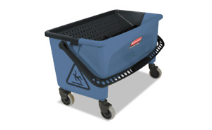 Rubbermaid Commercial Finish Mop Bucket With Wringer 28 quart Blue good Con