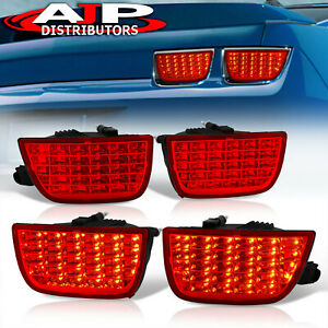 For 2010 2013 Chevy Camaro Sequential Signal Full Led Tail Lights All Red Lens