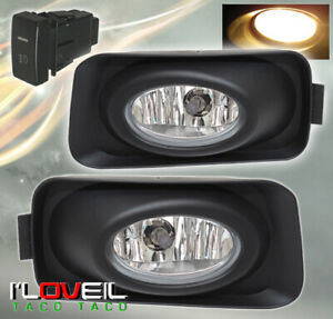 2004 2005 Acura Tsx Jdm Clear Driving Front Bumper Fog Lights Lamps W Switch
