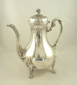 French Sterling Silver Coffee Pot Teapot Antique Louis Iv Style 22 Tr Oz Cognet
