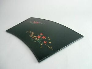 Japanese Lacquer Ware Tray Vtg Wooden Obon Plate Black Rectangle Fan Shape Lw606