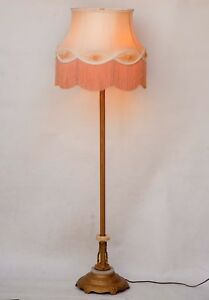 Vintage Mid Century Gold 4 Socket Floor Lamp W Alabaster On Base