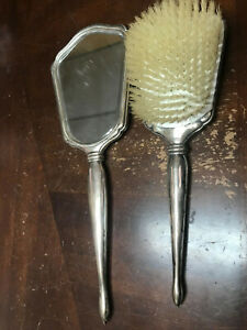 Antique International Sterling Silver Brush And Mirror Vanity Set Monogrammed