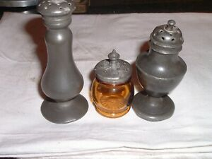 3 Antique English Or American Pewter Shaker Castor One Amber Glass