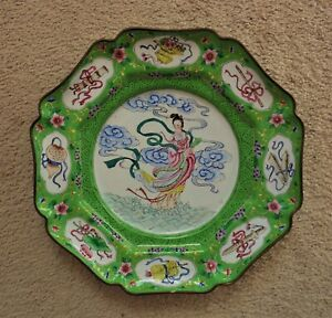 Antique Chinese Export Cloisonne Charger Maku Goddess Of Eternal Youth Plate
