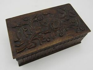 Antique Hand Carved Detailed Bas Relief Wood Trinket Box Chest Flowers Roses