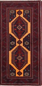 Vintage Geometric Tribal Runner 3x6 Balouch Persian Oriental Hand Knotted Rug