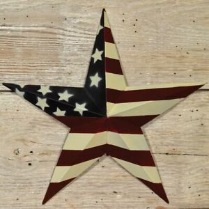 Country Primitive 12 Flag Barn Star Rustic Americana Wall Decor Tin