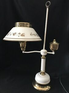 Vtg White Gold Hand Painted Tole Bedroom Reading Metal Table Lamp Light 3 Way