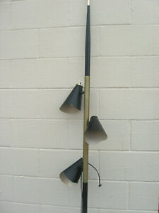 Vintage Mid Century Atomic Tension Pole Lamp Pierced Black Metal Cone Shades