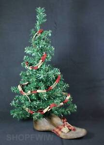 Hand Crafted 26 Primitive Christmas Tree In Genuine Antique Wood Shoe Last Base