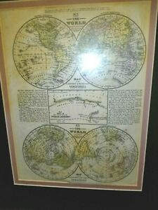 Antqiue World Map S A Mitchell 1852 Double Matte And Framed
