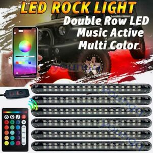 6x Tube Rgb Led Rock Light Wireless Bluetooth Music Atv Off road Truck Control