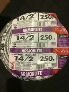 New Southwire 68579201 Armorlite 250ft 14 2 Solid Aluminum Mc Cable Wire