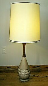 Mid Century Modern Brown Speckle Ceramic Wood 41 Lamp W Tall 18 Shade