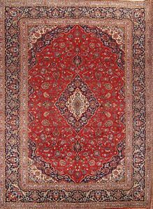 One Of A Kind Vintage Traditional Persian Hand Knotted 10 X13 Red Wool Area Rug