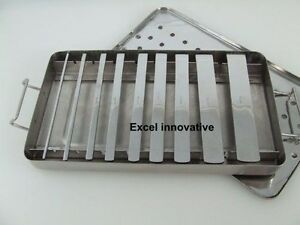 Kit Of 9 Swiss Osteotomes Sizes 2 To 20mm Wide With Stainless Sterilizer Tray