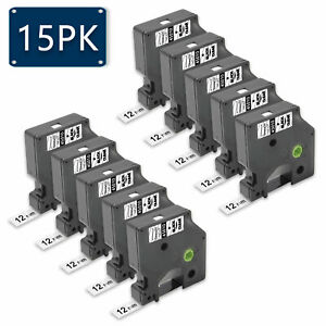 15pk Compatible For Dymo D1 45013 Black On White 12mm 0 47 Label Tape Lm450 220