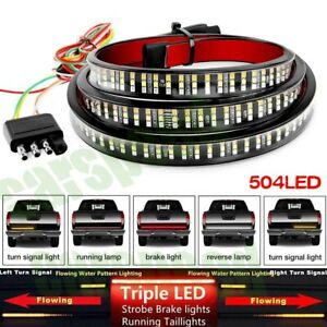60 Triple Led Tailgate Light Bar Strobe Brake Drl Sequential Turn Signal Strip