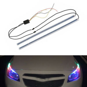 Rgb Led Car Auto Headlight 60cm Strip Light Flexible Soft Tube Neon Drl Lamp Set