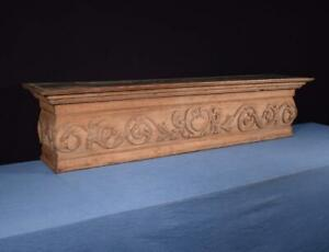 65 French Antique Renaissance Fireplace Mantel Pediment Oak Wood Crest Crown