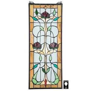 Design Toscano Ruskin Rose Three Flower Tiffany Style Stained Glass Window