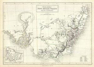 1844 Black Map Of New South Wales Australia