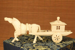 Antique Unique Old Japanese Hand Carved Horse Statue Chariot Noble Gift Box