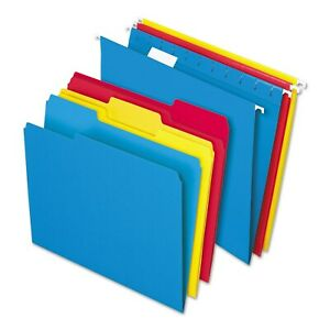 Pendaflex Essentials Combo Kit Hanging File Folders 1 3 Tab Letter Assorted 12