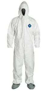 pack Of 6 Dupont Ty122s White Tyvek Coverall Bunny Suit Hood Boots Xl 3xl