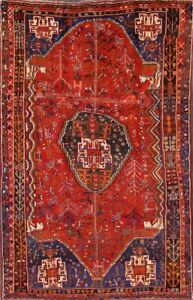 5x8 Geometric Tribal Antique Persian Area Rugs Hand Knotted Red Qashqai Abadeh