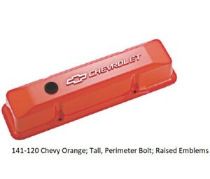 Proform 141 120 Small Block Chevy Tall Orange Aluminum Valve Covers Chevy Logo