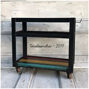 Vintage Industrial Metal Rolling Cart wheeled Table Stand End Table nightstand