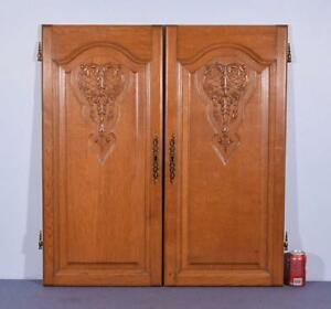 Pair Of 37 Vintage French Louis Xv Carved Architectural Panels Doors Wood Oak