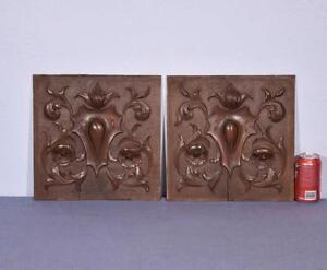 Pair Of French Antique Carved Architectural Panels In Walnut Salvage