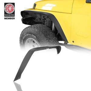 4x Textured Black Flat Steel Front Rear Fender Flares For 97 06 Jeep Wrangler Tj