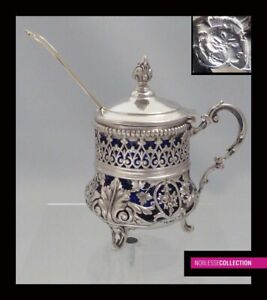 Gorgeous Antique 1880s French Sterling Silver Openwork Mustard Pot