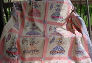 Southern Belle Vintage Parasol Ladies Quilt Hand Made 85 X 88