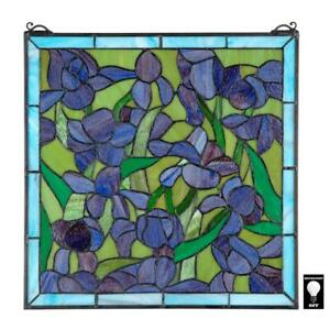 Design Toscano Saint Remy Irises Stained Glass Window