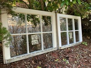 2 24 X 19 Vintage Window Sash Old 6 Pane From 1948 Arts Craft