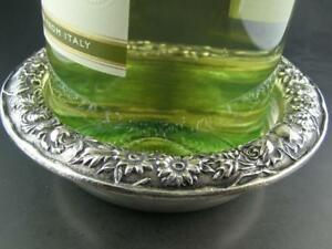 Estate Sterling S Kirk Son Wine Bottle Coaster Repousse Ornate