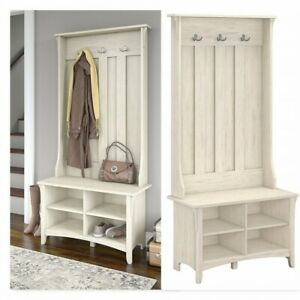 Antique Hall Tree Furniture With Storage Bench Decoration Entryway White