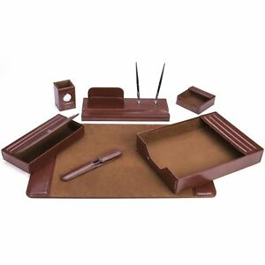 7 piece Brown Leather Desk Set