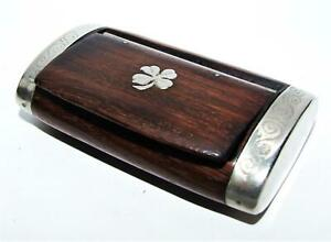 Vintage Antique Wood Snuff Pill Box Rosewood Silver Or Plate Four Leaf Clover
