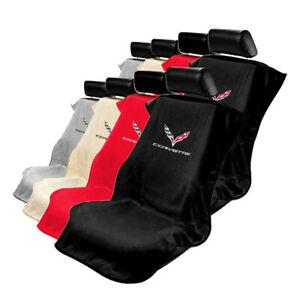 Seat Armour Set Of 2 Cloth Seat Cover Towels Fit For Chevy Corvette C7 Logo
