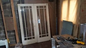 Vintage Architectural Beveled Glass French Doors Set Of 2 Antique Arts