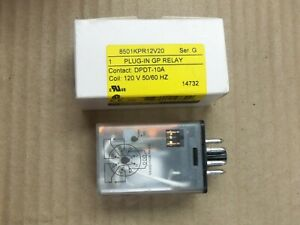 New Square D 8501kpr12v20 Plug In Gp Relay Series G Dpdt 10a