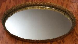 Vtg Antique Mirrored Vanity Table Centerpiece Tray Pierced Gold Ormolu Plateau