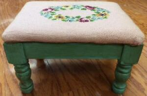 Antique Needlepoint Foot Stool Footstool Primitive Shabby Chic Victorian Floral